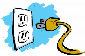 Illustration of a plug and outlet. (State Dept.)