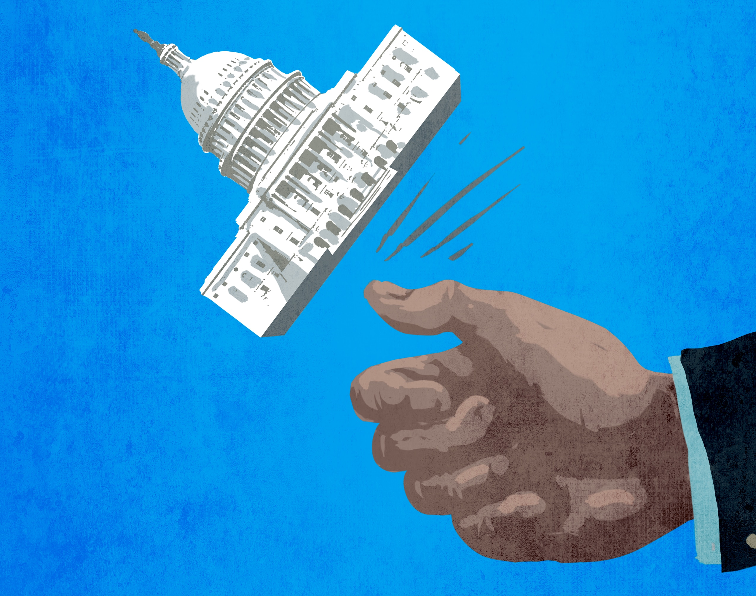 Illustration of large hand flipping U.S. Capitol building like coin (State Dept./D.Thompson)