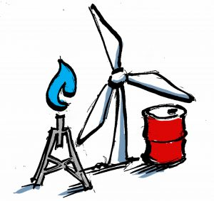 Illustration of wind turbine, natural gas flame and oil barrel. (State Dept.)