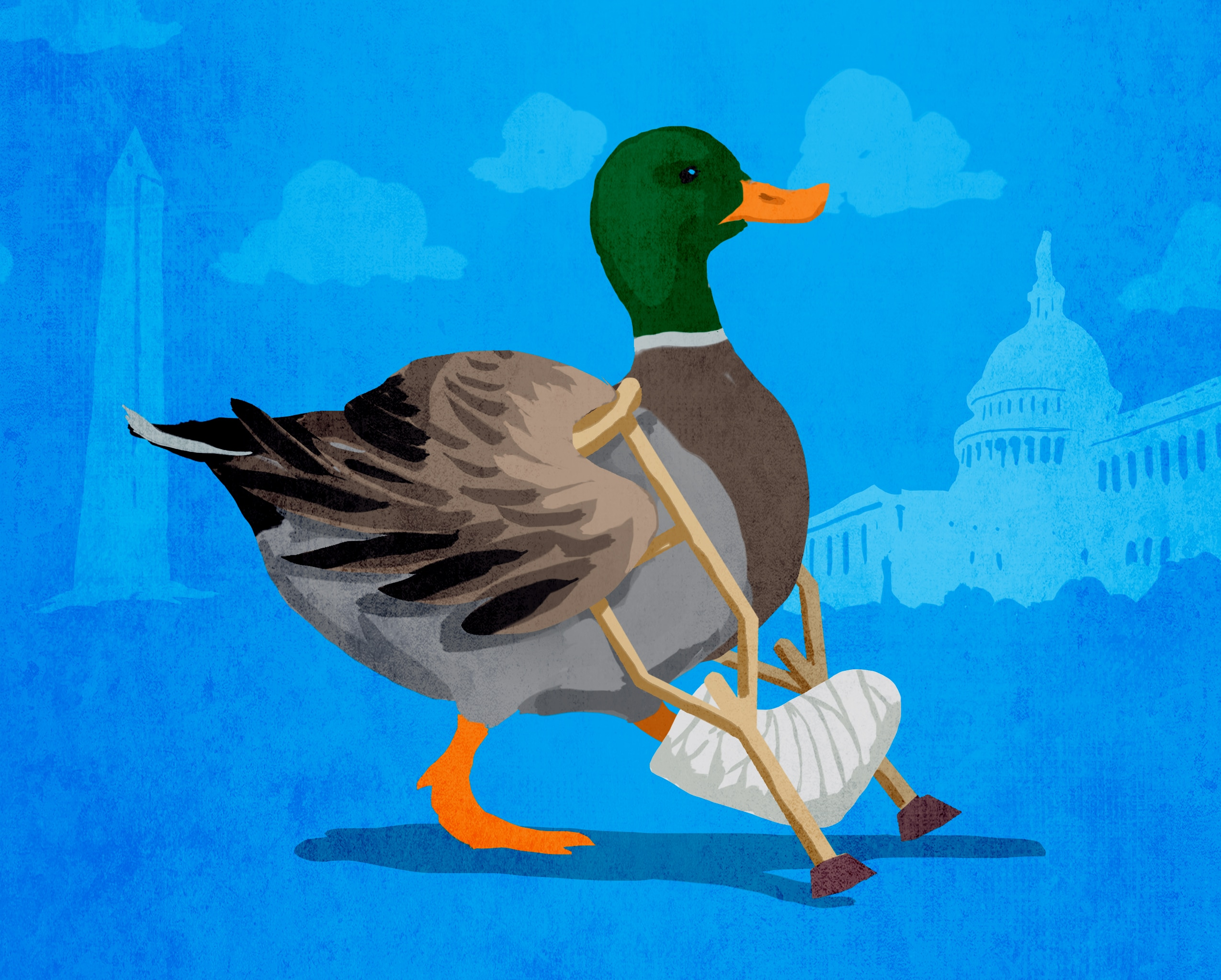 Illustration of duck with bandaged foot walking on crutches (State Dept./D. Thompson)