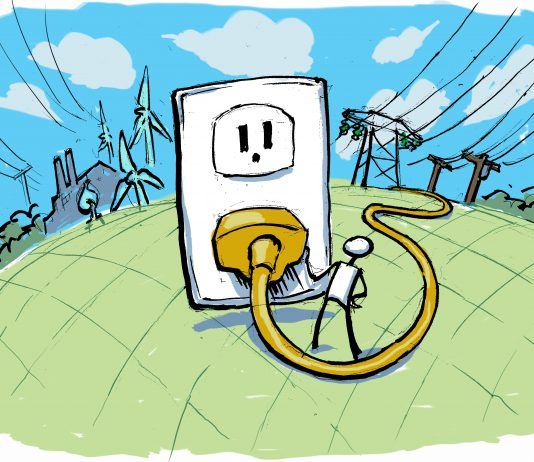 Illustration of figure plugging in to giant outlet (State Dept./Doug Thompson)