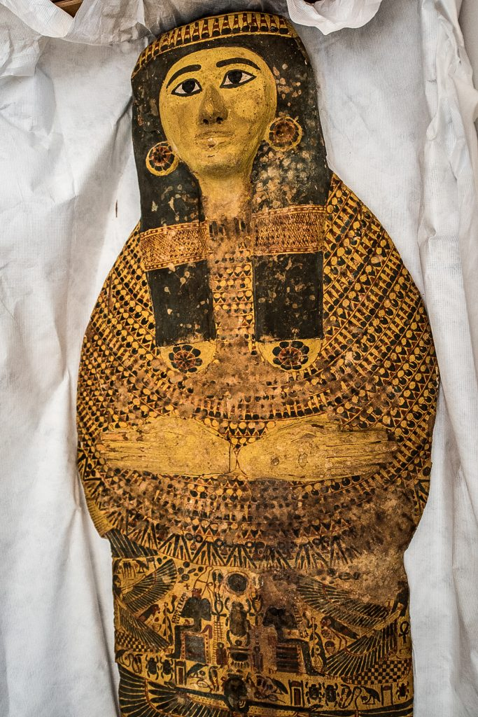 Painted and carved sarcophagus (Immigration and Customs Enforcement)