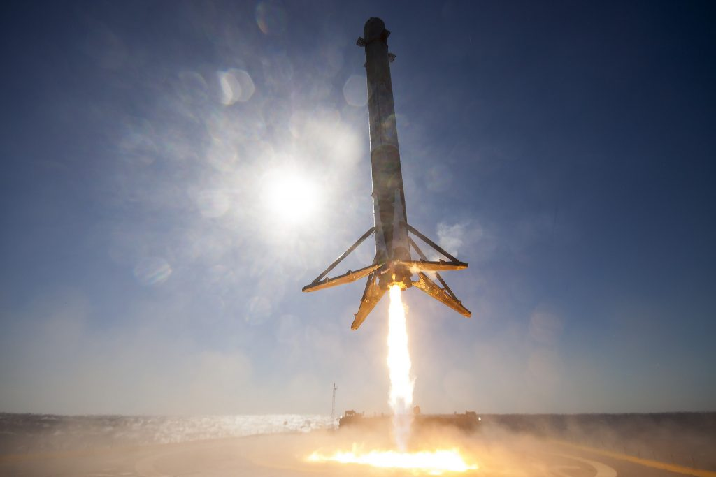Rocket coming in for landing (SpaceX)