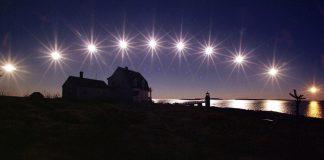 عکسی با فاصله زمانی از طلوع تا غروب خورشید در شب انقلاب زمستانی (عکس از آسوشیتدپرس