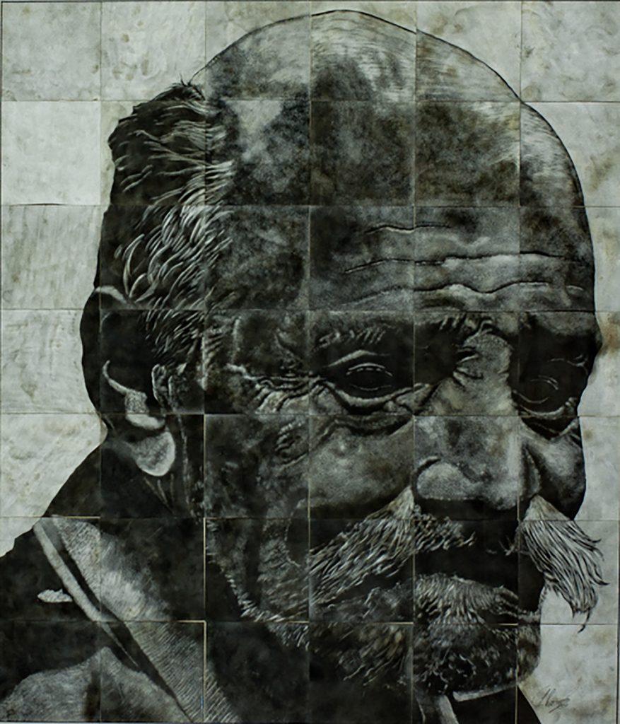 Dark monochromatic sketch of man's head (© Falak Al Ghazi)