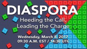 """Gráfico demonstra a data e o horário do bate-papo virtual """"Diaspora: Heeding the Call, Leading the Charge"""", que será realizado em inglês (Departamento de Estado)"""