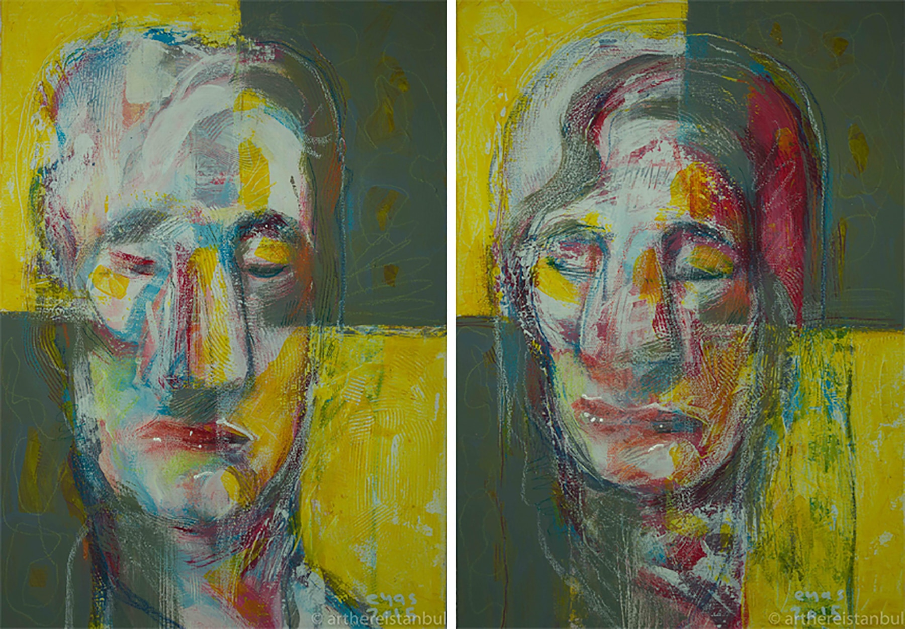 Painting of man's face and woman's face (© Eyas Jaafar)