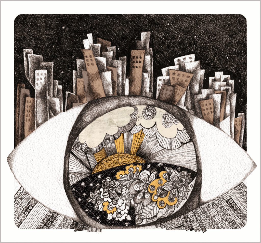 Painting of eye and tall buildings (© Gulnar Hajo)
