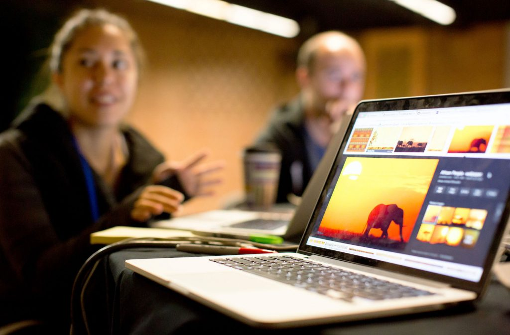 Laptop computer on table with images of elephants on screen; two people in background (Woodland Park Zoo)