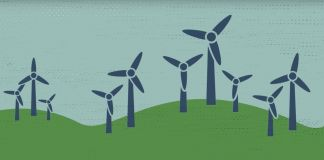 Illustration of windmills on green hills (State Dept.)