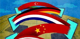 Ilustrasi komputer yang terhubung dengan bendera nasional yang berbeda (State Dept./Doug Thompson)