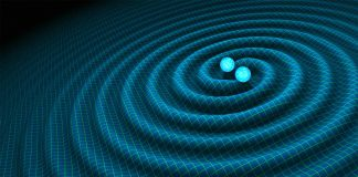 Illustration of blue objects orbiting and creating waves (R. Hurt/Caltech-JPL)