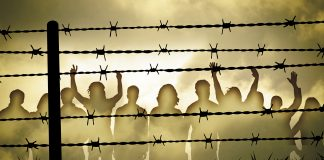Prisoners behind barbed wire (Shutterstock)