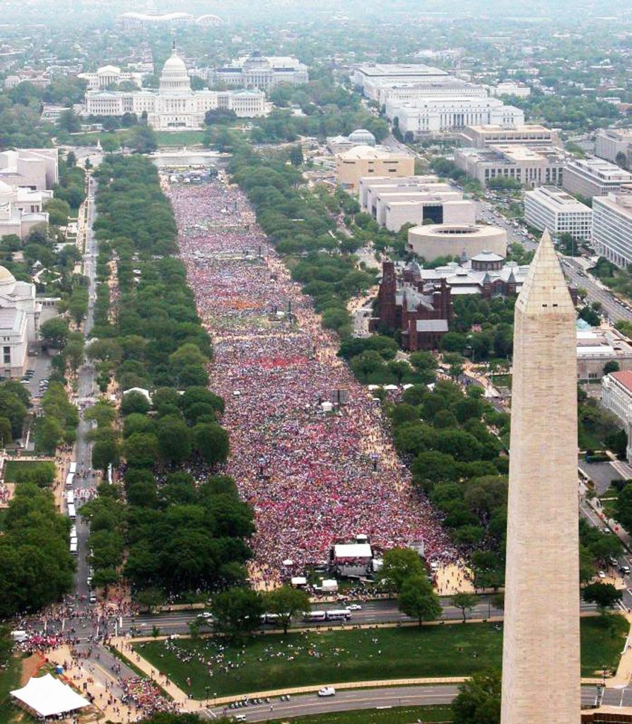 Aerial view of crowd filling National Mall (NPS)