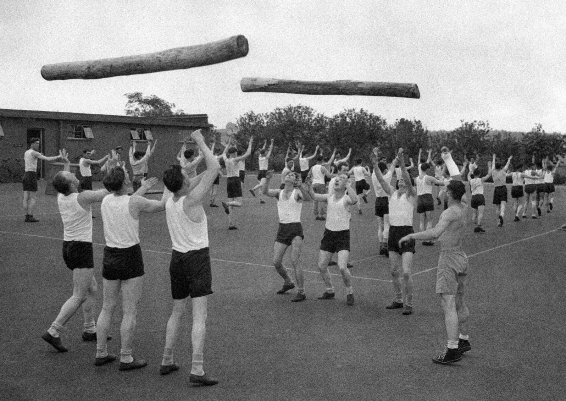 Rows of men tossing logs in air (© AP Images)