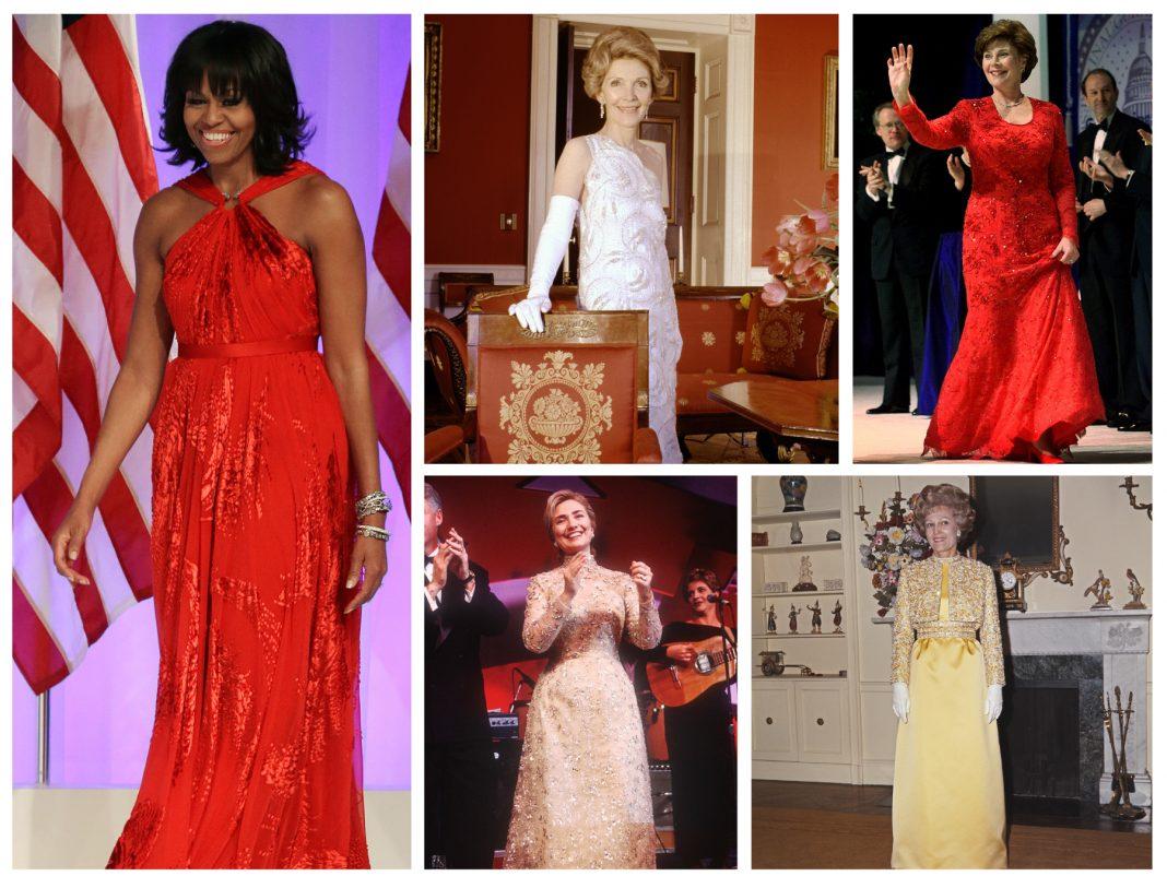 Montage photo de cinq femmes vêtues de robes de soirée (© AP Images)