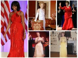 A grid of images showing women in formal gowns (© AP Images; © Getty)