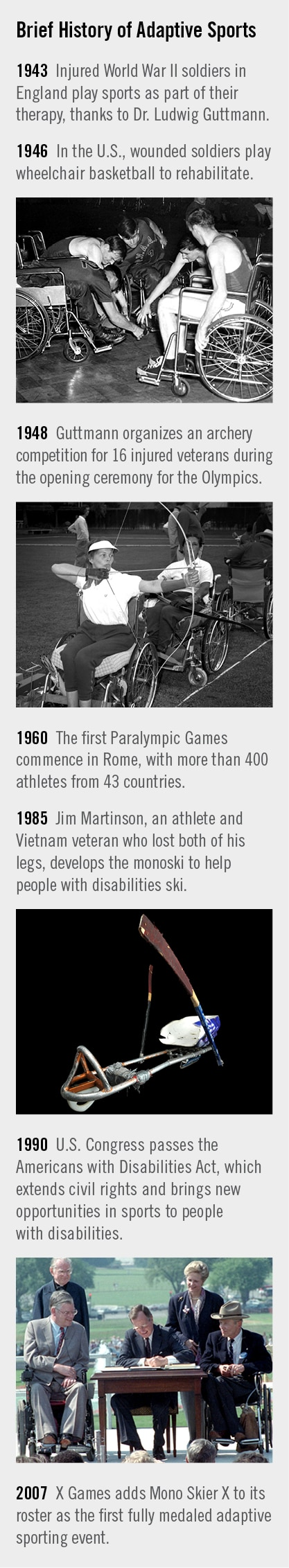 Timeline ranging from rehabilitation activities for soldiers in 1943 to addition of Mono Skier X to X Games in 2007 (State Dept./Photos 1, 2 and 4 © AP Images; Photo 3 courtesy of Smithsonian Institution)