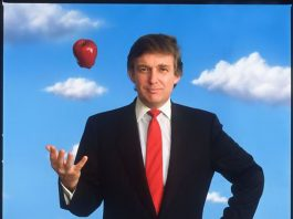 Donald Trump tossing apple into air (© Michael O'Brien/National Portrait Gallery, Smithsonian)