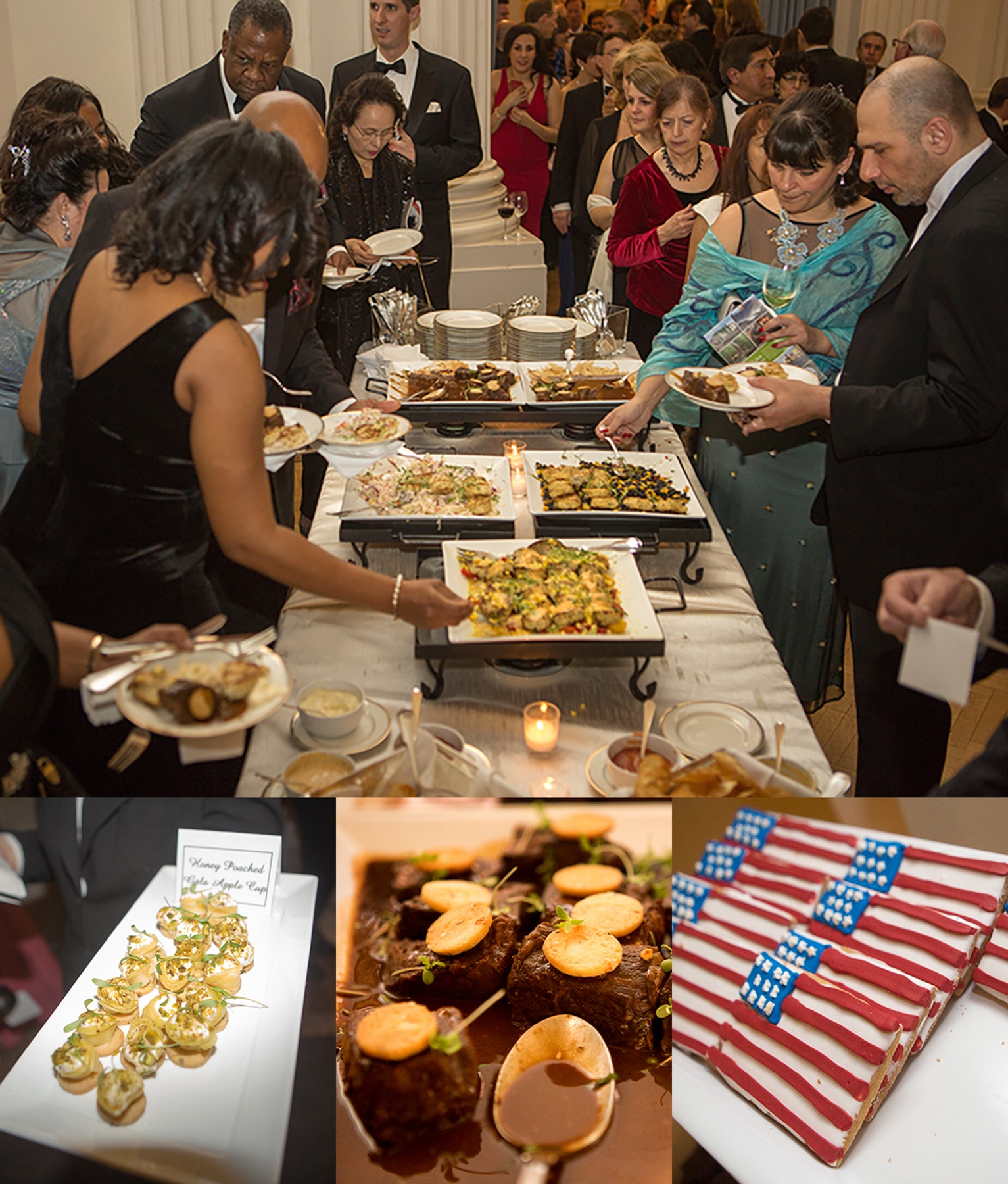 Four photos of food on buffet table and people serving themselves (State Dept./D.A. Peterson)