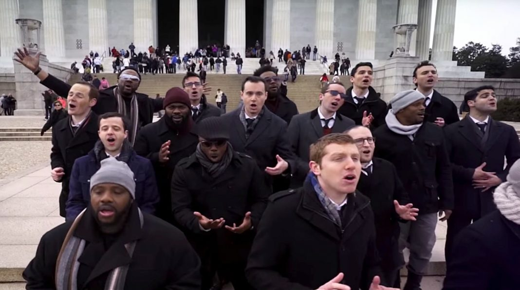 Singers performing in front of Lincoln Memorial (Courtesy of Maccabeats)