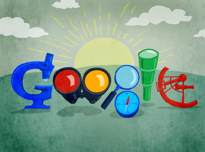 Illustration of Google doodle featuring search instruments (State Dept./Doug Thompson)
