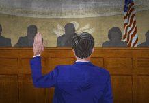 Ilustración de un hombre alzando la mano para jurar ante la Comisión del Senado (Depto. de Estado/Doug Thompson)