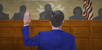 Graphic of man with hand raised before Senate committee (State Dept./Doug Thompson)