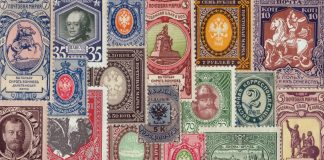 Collage of Russian stamps (State Dept.)