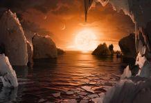طرحی تخیلی از سطح احتمالی یکی از سیاره های تازه کشف شده. (عکس از ناسا)