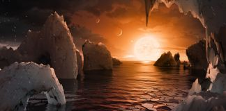 Artist's conception of planet's surface with setting sun (NASA)