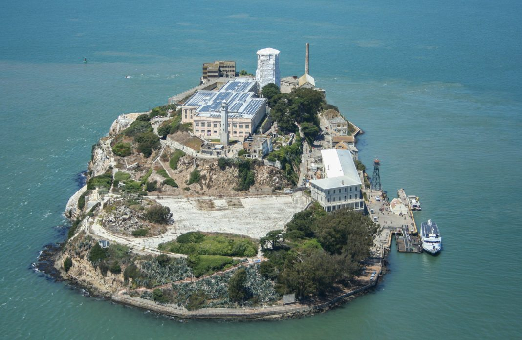 Aerial view of an island with buildings on it (National Park Service/Frank Schmidt)