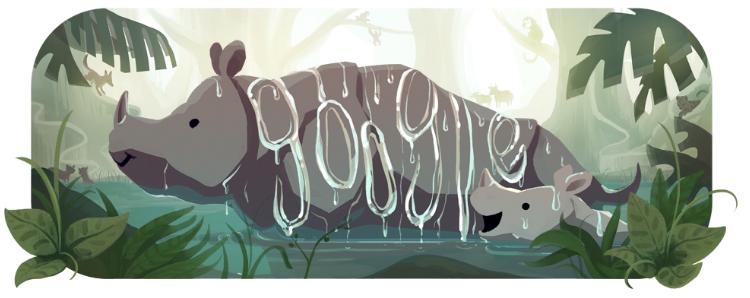 Drawing of Javan rhino and calf (© Google)