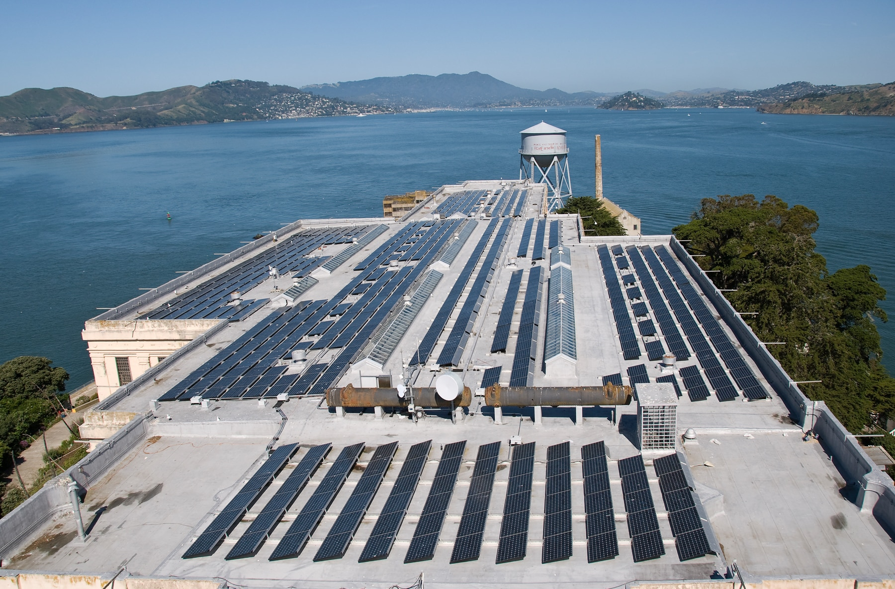 Solar panels on top of Alcatraz prison (National Park Service/Al Greening)