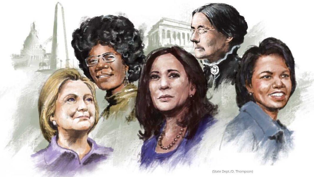 Ilustração de cinco mulheres com monumentos ao fundo (Depto. de Estado/D. Thompson)