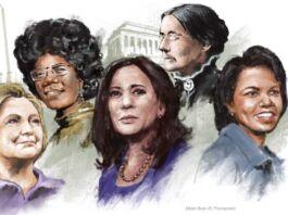 Ilustración de cinco mujeres con monumentos al fondo (Depto. de Estado/D. Thompson)