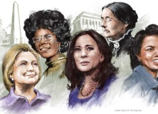 Illustration of five women with monuments in background (State Dept./D. Thompson)