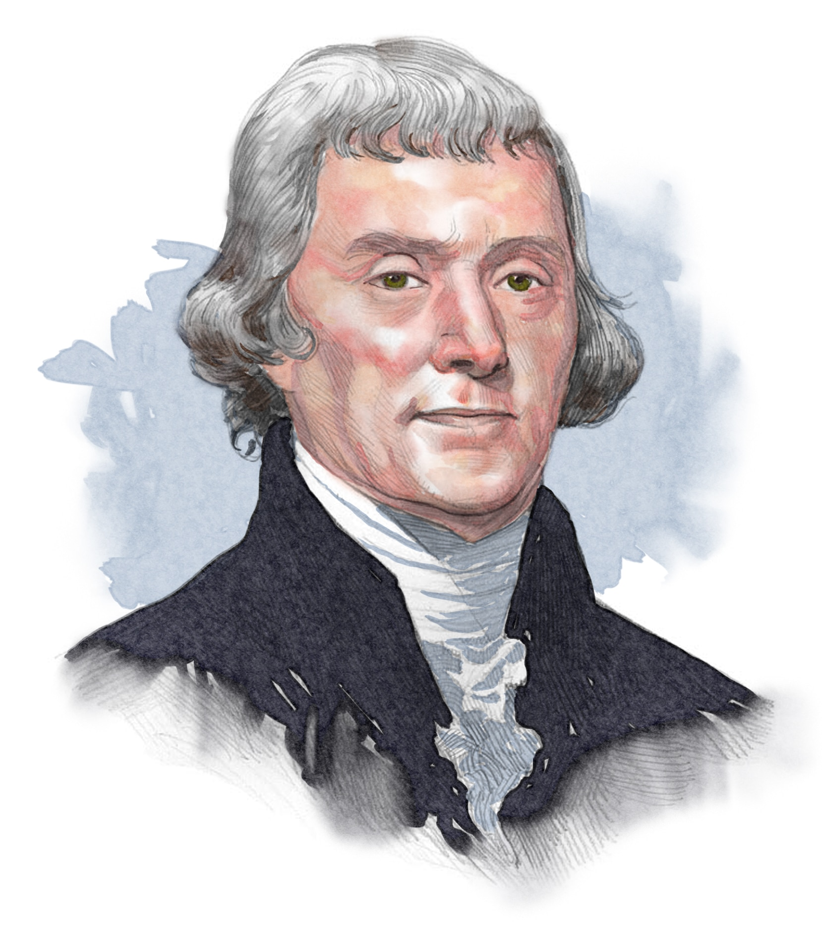 Illustrated image of President Jefferson (© siteseen.info)