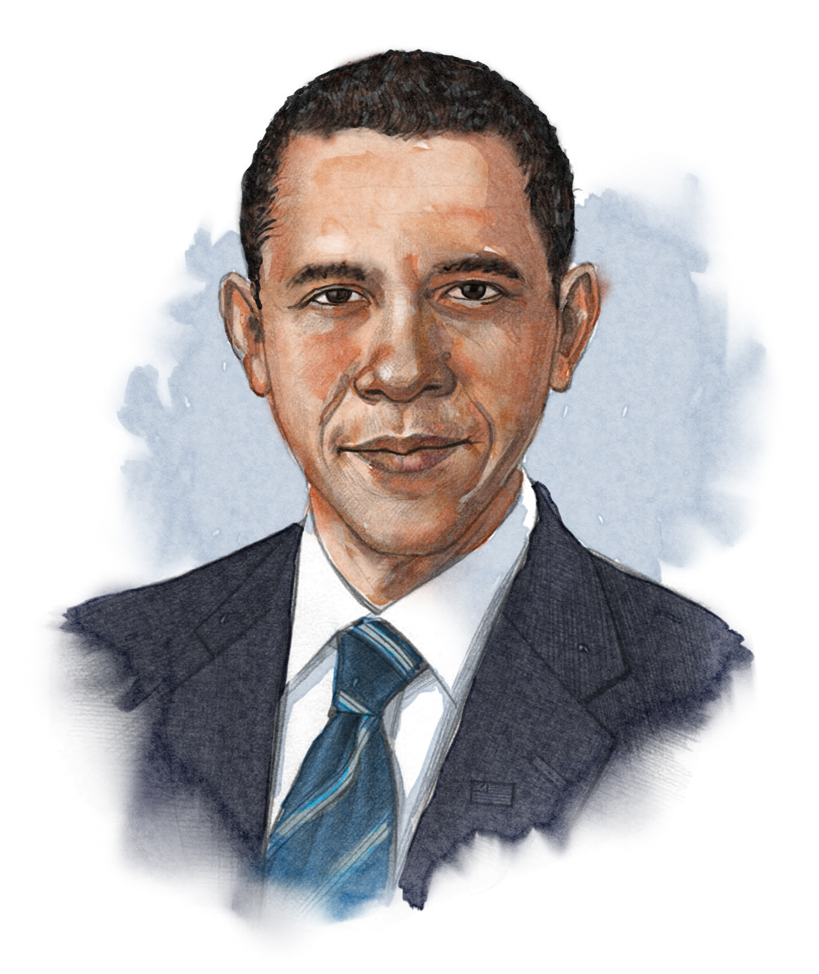Illustrated image of President Obama (© siteseen.info)