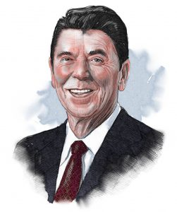Illustrated image of President Reagan (© siteseen.info)