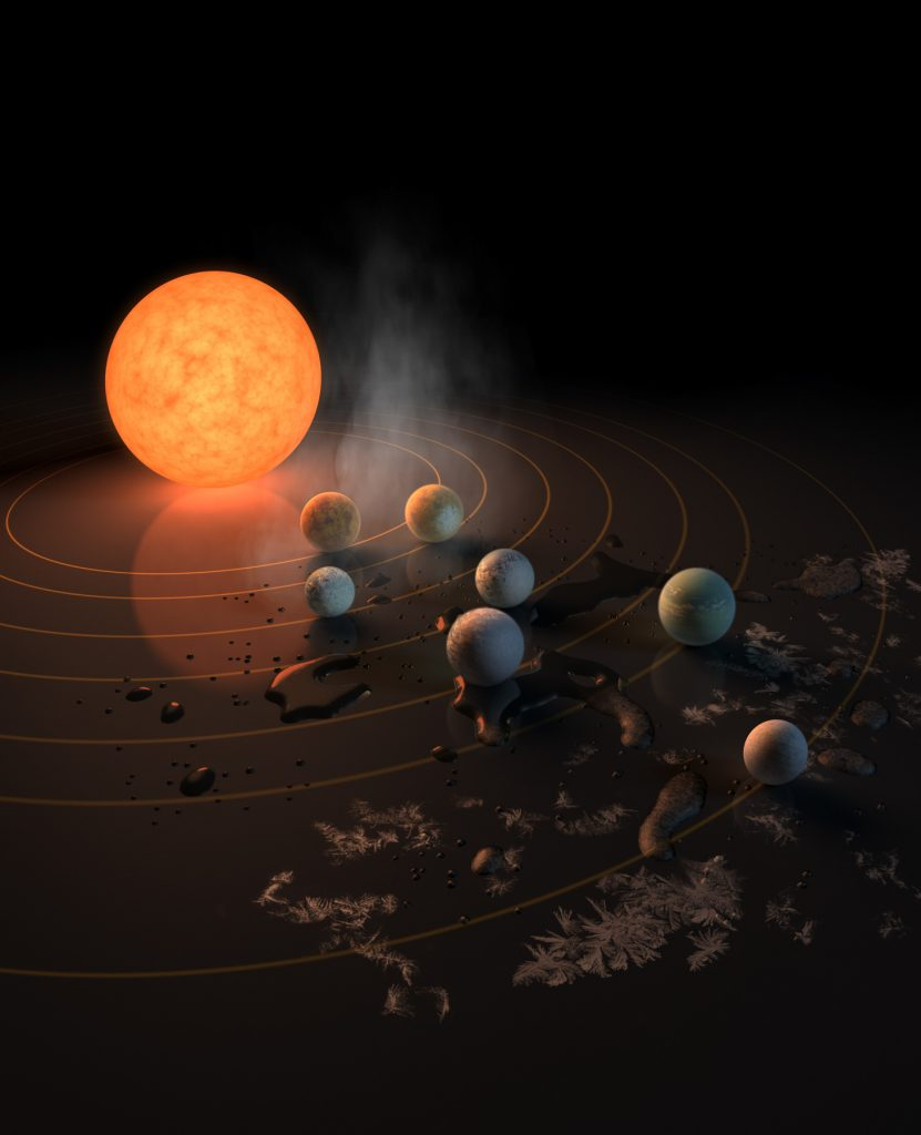 Interpretação de um artista de sistema solar com muitos planetas (Nasa)