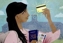 Ilustração de um estudante segurando um passaporte, um visto e um cartão de crédito (Depto. de Estado/Doug Thompson)