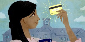 Illustration of a student holding a passport, visa and credit card (State Dept./Doug Thompson)