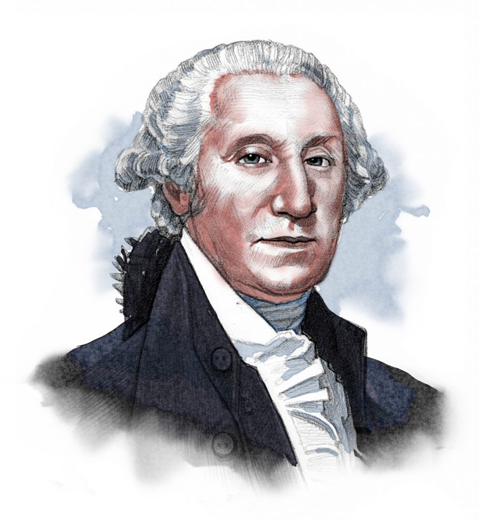 Illustrated image of President Washington (© siteseen.info)