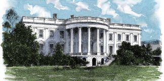 Ilustração colorida da Casa Branca (Shutterstock)