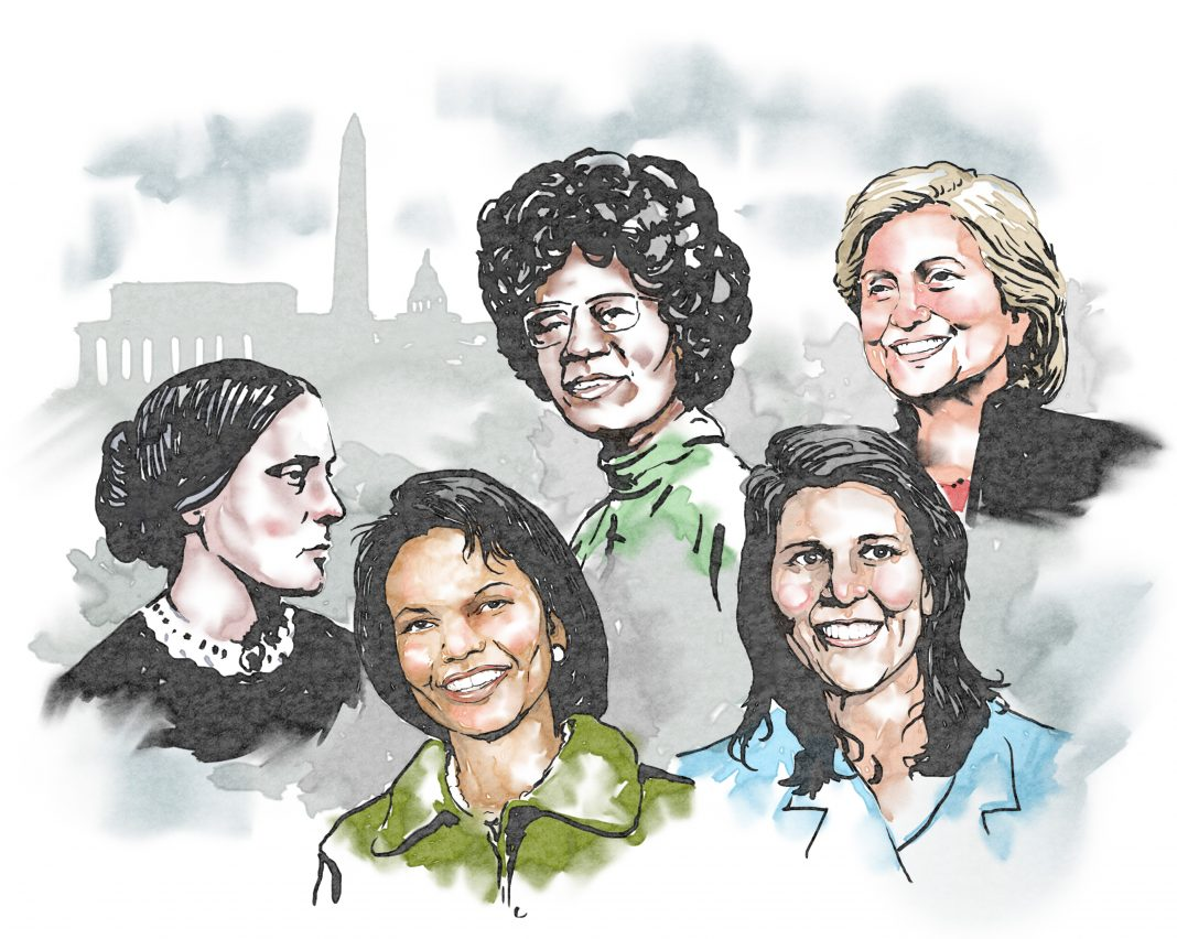 Illustration of several famous women in U.S. politics (State Dept./Doug Thompson)
