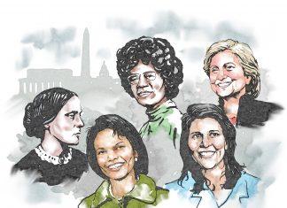 Illustration of several famous women in U.S. politics (State Dept./Doug Thompson)