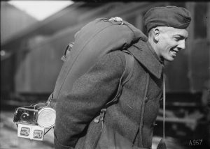 Soldier carrying backpack (Library of Congress/Lewis Hine)