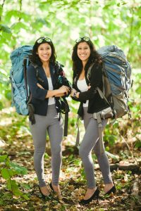 Nungshi and Tashi Malik standing with backpacks (State Dept. Global Sports Mentoring Program)