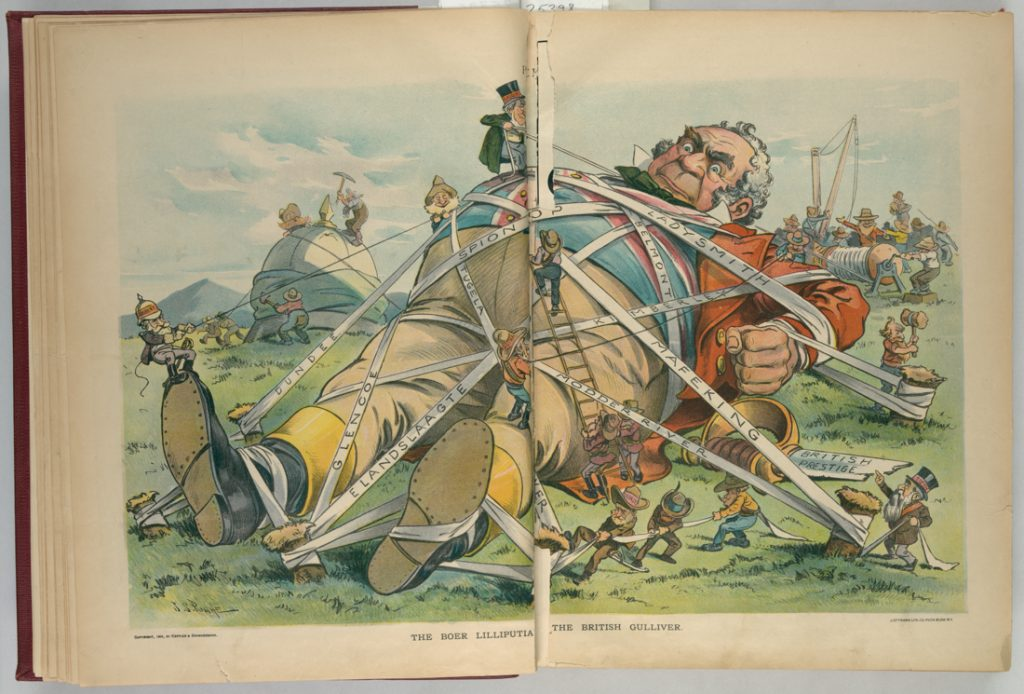 Book illustration of Gulliver tied down with labeled ribbons (Library of Congress)